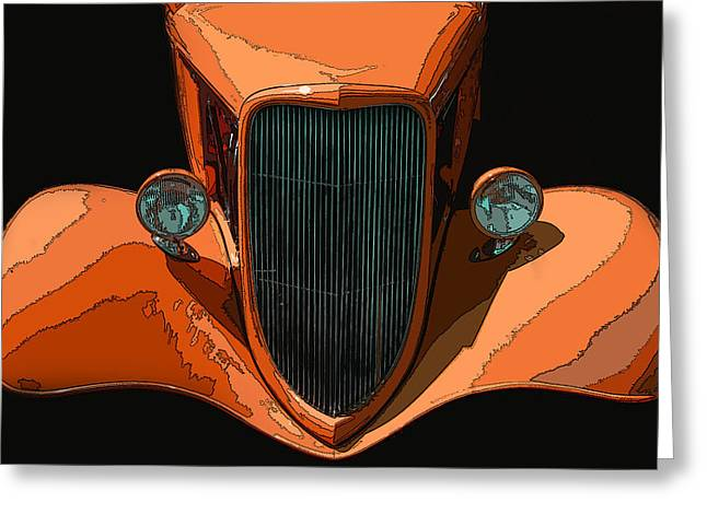 Sheats Greeting Cards - Orange Jalopy Greeting Card by Samuel Sheats