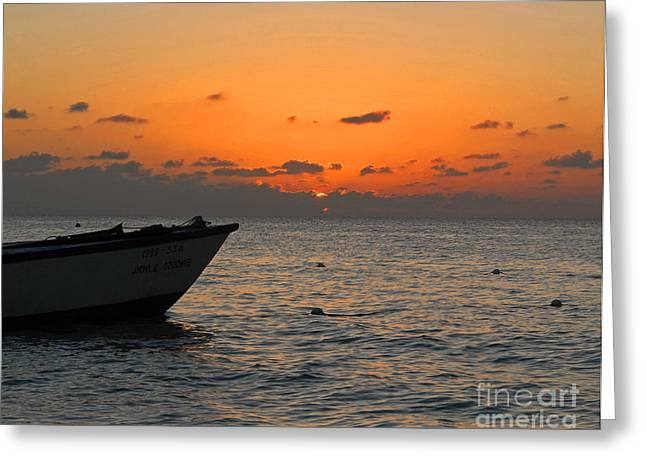 Jamaican Sunsets Greeting Cards - Orange Jamaican Sunset Greeting Card by Nature Scapes Fine Art