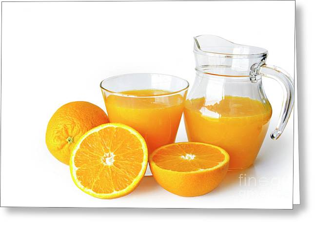 Fruits Photographs Greeting Cards - Orange Juice Greeting Card by Carlos Caetano