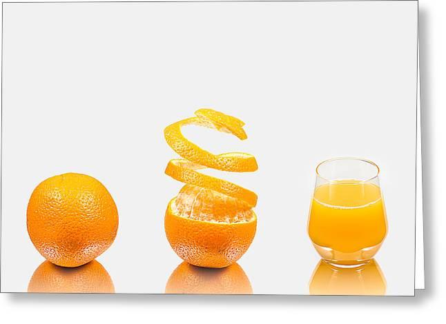 Tangerine Greeting Cards - Orange Juice Greeting Card by Gert Lavsen