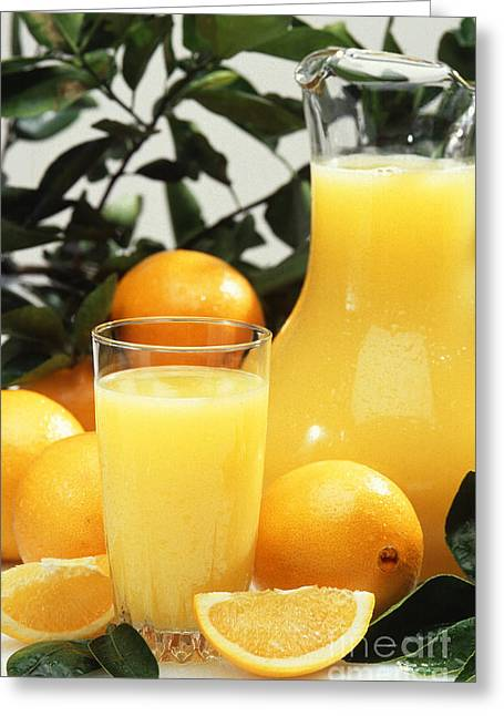 Orange Greeting Cards - Orange Juice Greeting Card by Photo Researchers