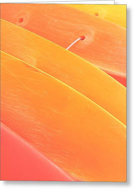 Surfing Art Greeting Cards - Orange Kayaks Greeting Card by Brandon Tabiolo - Printscapes
