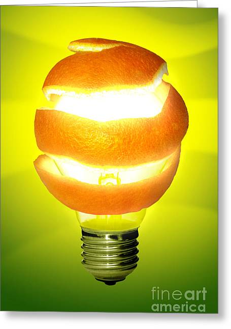 Wrapped Around Greeting Cards - Orange Lamp Greeting Card by Carlos Caetano