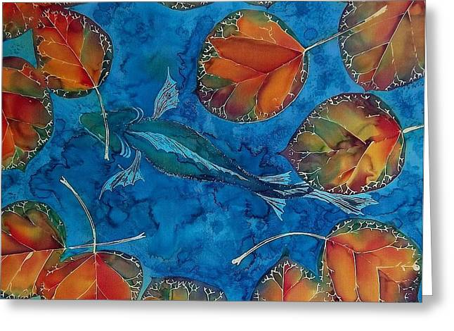 Stream Tapestries - Textiles Greeting Cards - Orange Leaves and Fish Greeting Card by Carolyn Doe