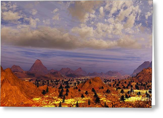 Terragen Greeting Cards - Orange Mountains Greeting Card by Napo Bonaparte