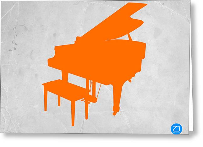 Piano Greeting Cards - Orange Piano Greeting Card by Naxart Studio
