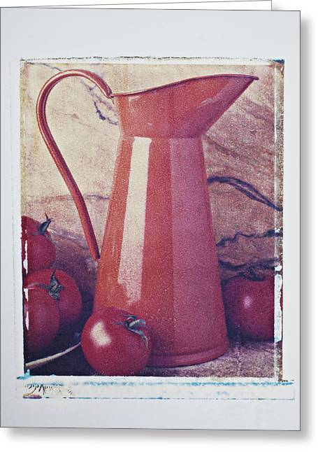 Transfer Greeting Cards - Orange pitcher and tomatoes Greeting Card by Garry Gay