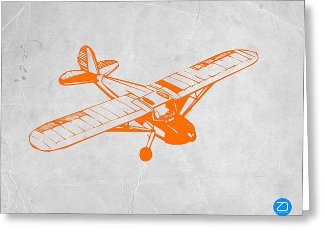 Flying Planes Greeting Cards - Orange Plane 2 Greeting Card by Naxart Studio