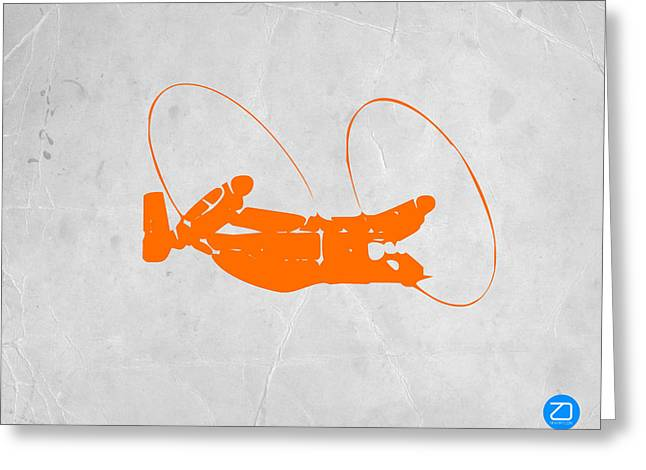 Plane Art Greeting Cards - Orange Plane Greeting Card by Naxart Studio