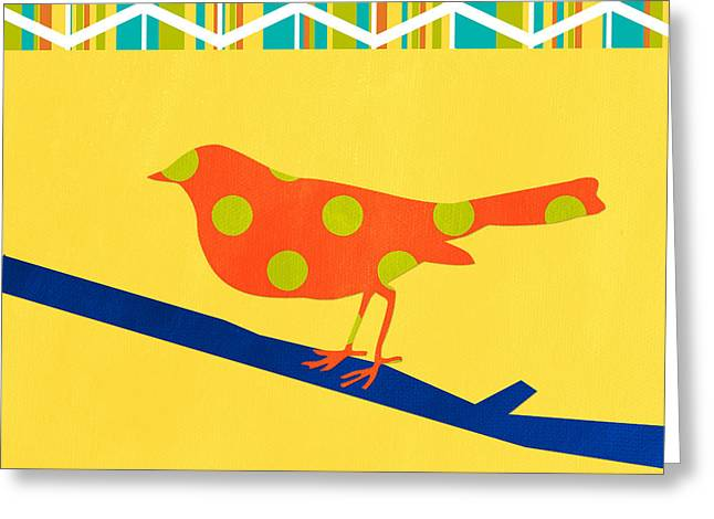 Yellow Greeting Cards - Orange Polka Dot Bird Greeting Card by Linda Woods
