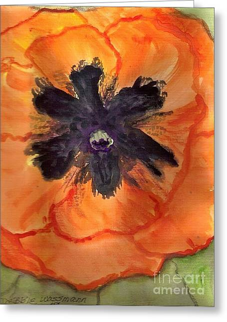 Orangr Greeting Cards - Orange Poppy Greeting Card by Debbie Wassmann