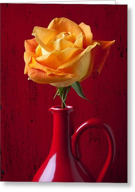 Orange Rose Greeting Cards - Orange Rose In Red Pitcher Greeting Card by Garry Gay