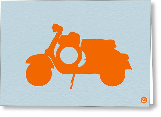 Old Digital Greeting Cards - Orange Scooter Greeting Card by Naxart Studio