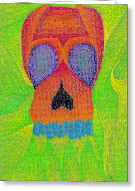 Cubist Drawings Greeting Cards - Orange Skull Greeting Card by Jera Sky