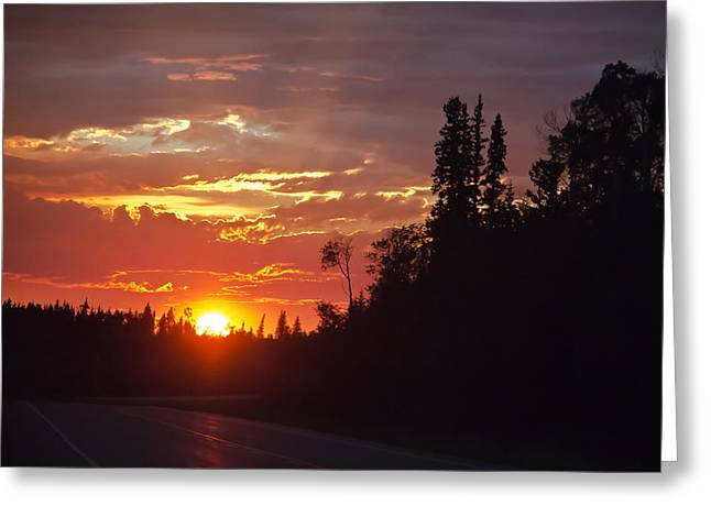 Outside Pyrography Greeting Cards - Orange sky Greeting Card by Darren Langlois