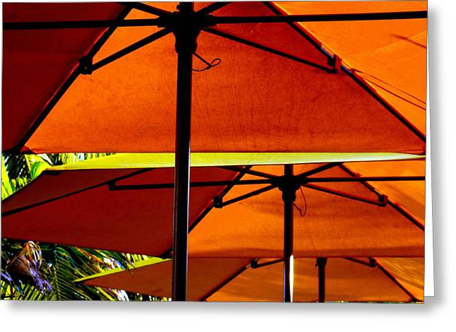 Orange Sliced Umbrellas Greeting Card by KAREN WILES