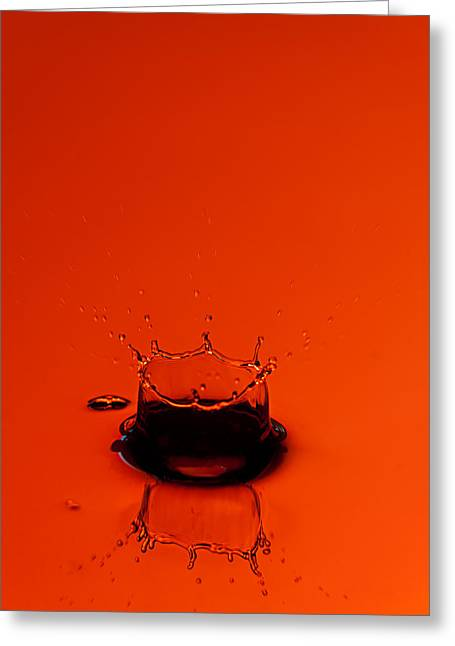 Frozen Water Greeting Cards - Orange Splash Greeting Card by Steve Gadomski