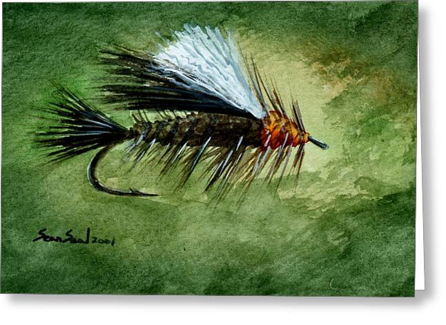 Fishing Fly Greeting Cards - Orange Stimulator Greeting Card by Sean Seal