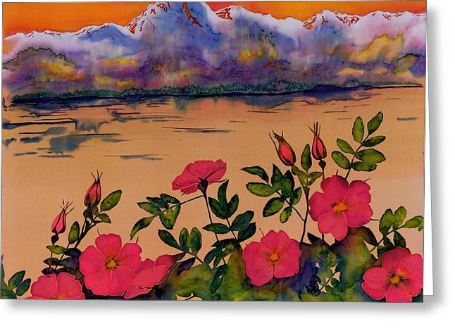 Orange Tapestries - Textiles Greeting Cards - Orange Sun over Wild Roses Greeting Card by Carolyn Doe