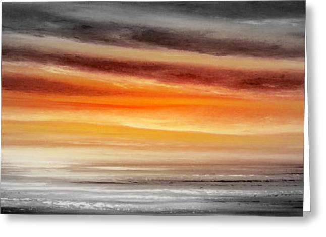 Sunset Posters Greeting Cards - Orange Sunset - Panoramic Greeting Card by Gina De Gorna