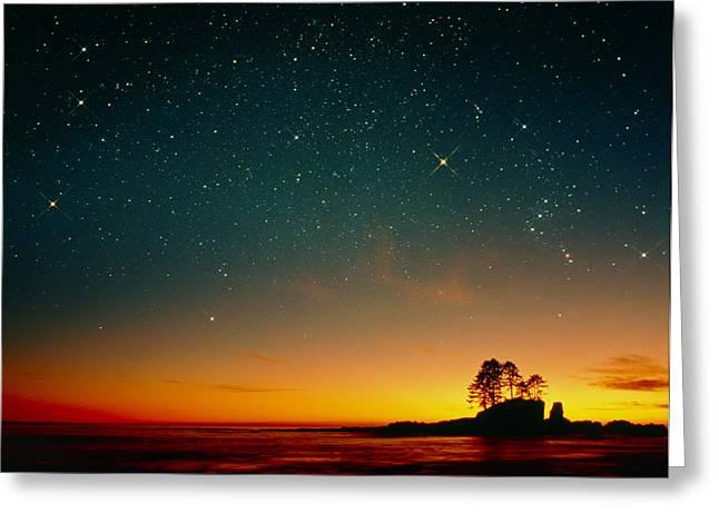 Orange Sunset With Orion, Gemini & Cancer Greeting Card by David Nunuk