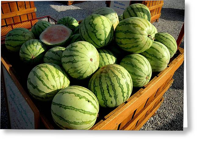 Watermelon Greeting Cards - Orange Sunshine Watermelons Just Six Dollars Greeting Card by Don Struke