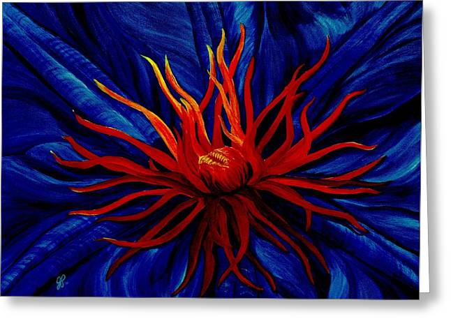 Macro Paintings Greeting Cards - Orange Tango Greeting Card by Julie Pflanzer