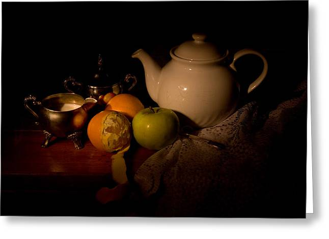 Naturaleza Muerta Greeting Cards - Orange Tea Greeting Card by Levin Rodriguez