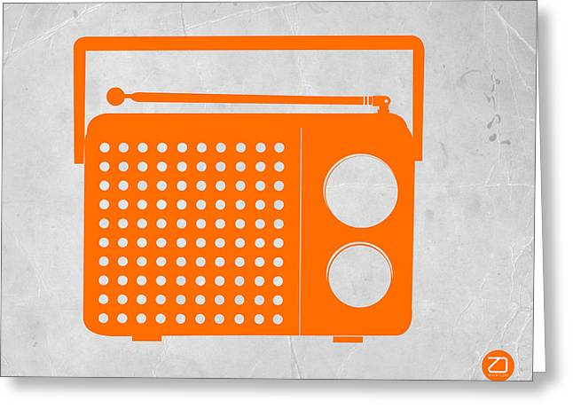 Modern Drawings Greeting Cards - Orange Transistor Radio Greeting Card by Naxart Studio