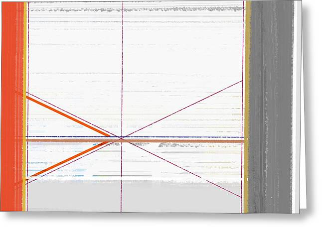 Colorful Geometric Greeting Cards - Orange Triangles with Grey Greeting Card by Naxart Studio