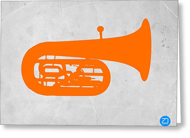 Radio Print Greeting Cards - Orange Tuba Greeting Card by Naxart Studio