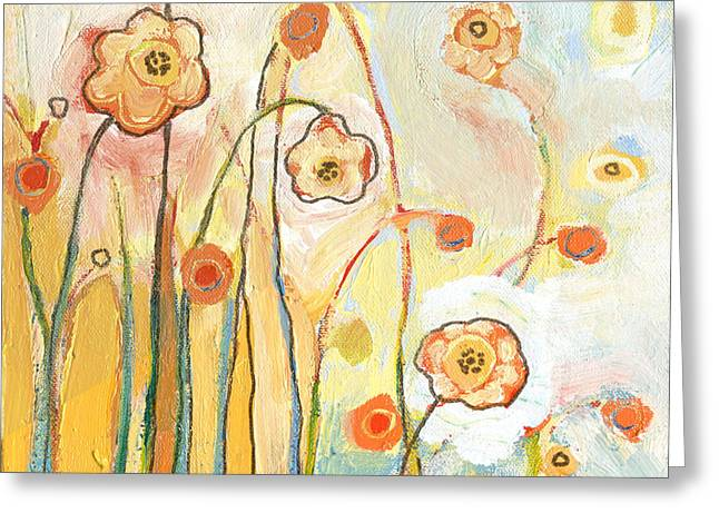 Whimsical Greeting Cards - Orange Whimsy Greeting Card by Jennifer Lommers