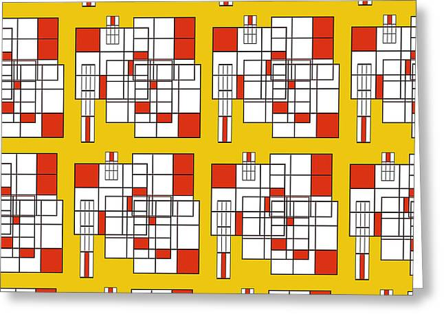 Abstract Art For Sale Digital Art Greeting Cards - Orange Yellow Line Pattern Greeting Card by Ruth Palmer