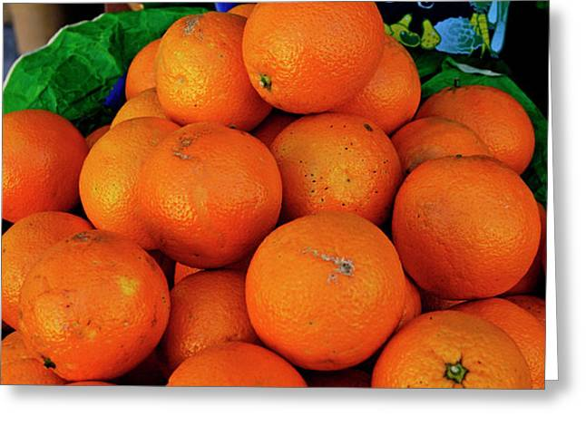 Oranges displayed in a grocery shop Greeting Card by Sami Sarkis