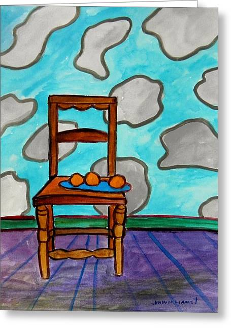 Interior Still Life Drawings Greeting Cards - Oranges on a Blue Plate Greeting Card by John  Williams