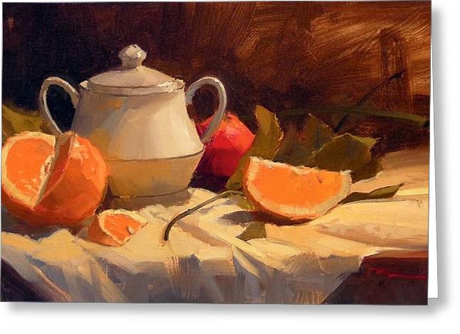 Oranges Greeting Card by Richard Robinson