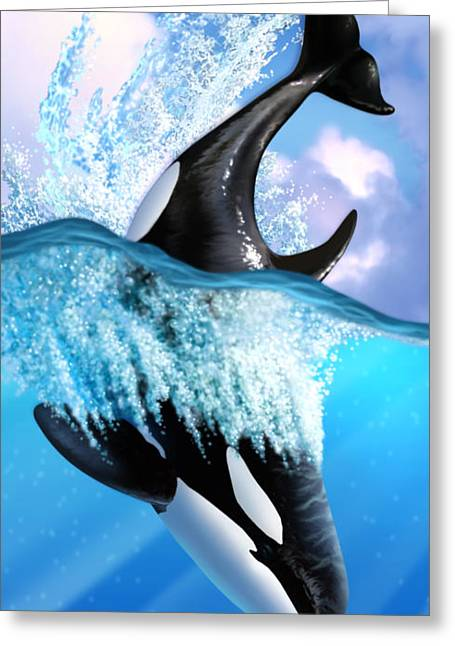Diving Digital Art Greeting Cards - Orca 2 Greeting Card by Jerry LoFaro