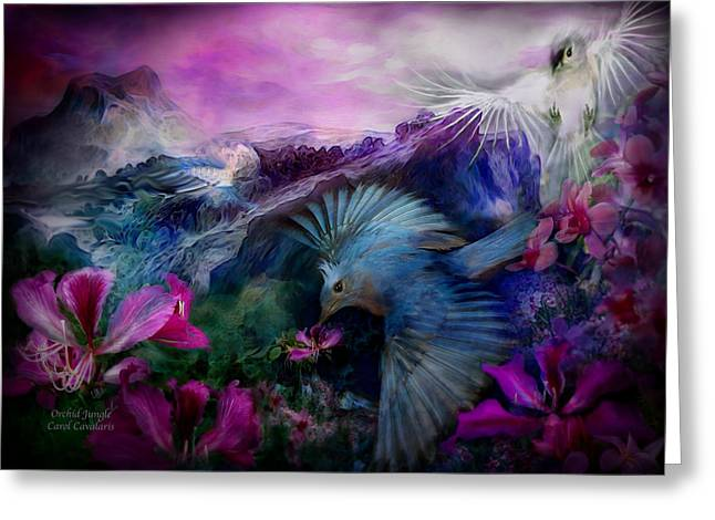 Orchids Art Print Greeting Cards - Orchid Jungle Greeting Card by Carol Cavalaris