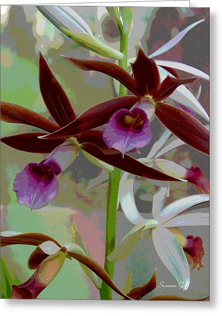 Floral Digital Art Greeting Cards - Orchid Sonata Greeting Card by Suzanne Gaff