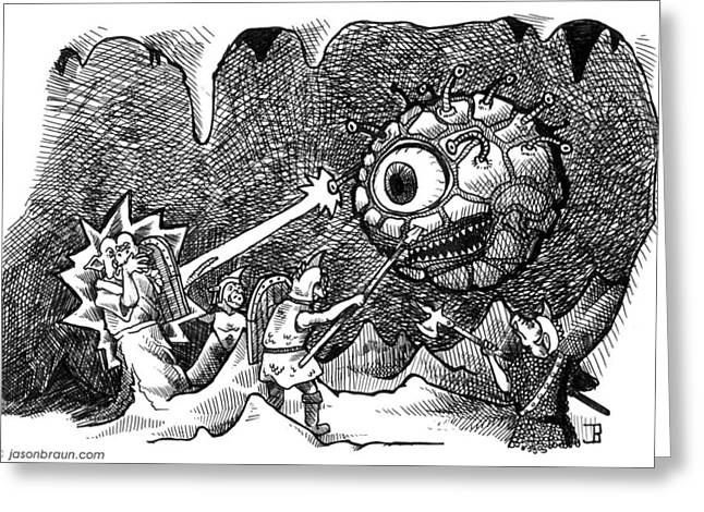 D.w. Drawings Greeting Cards - Orcs vs Beholder Greeting Card by Jason Braun