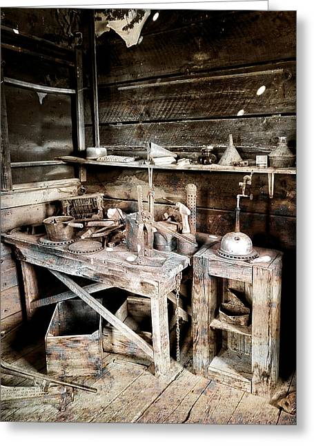 Ore Assay Shop Work Bench - Molson Ghost Town Greeting Card by Daniel Hagerman