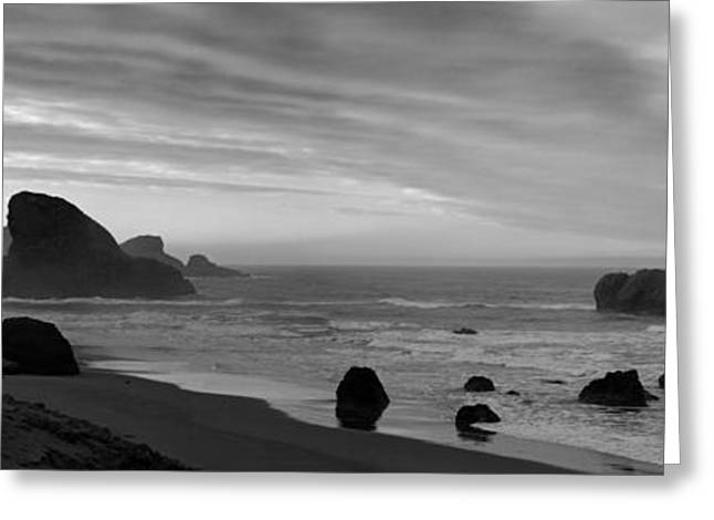 Pacific Ocean Prints Greeting Cards - Oregon Coast Panorama Black and White Greeting Card by Twenty Two North Photography
