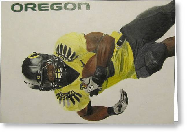 Ncaa Drawings Greeting Cards - Oregon Ducks LaMichael James Greeting Card by Ryne St Clair