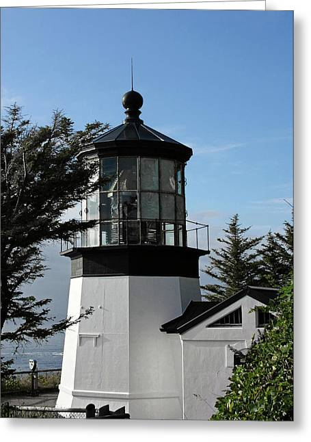 Seascapes Greeting Cards - Oregon Lighthouses - Cape Meares Lighthouse Greeting Card by Christine Till