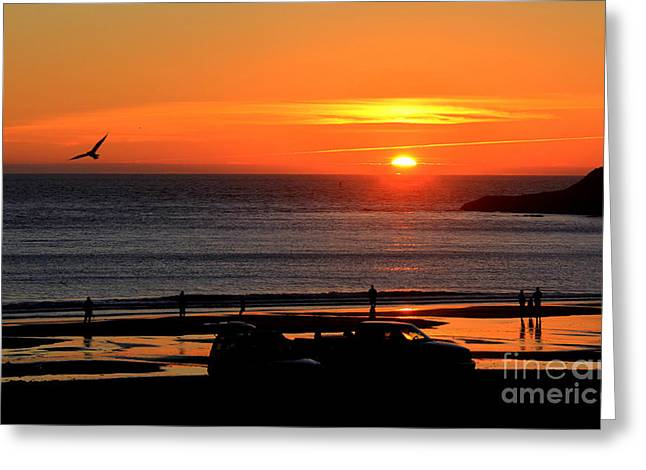 Beach House Decor Posters Greeting Cards - Oregon Sunset Greeting Card by Michele Hancock Photography