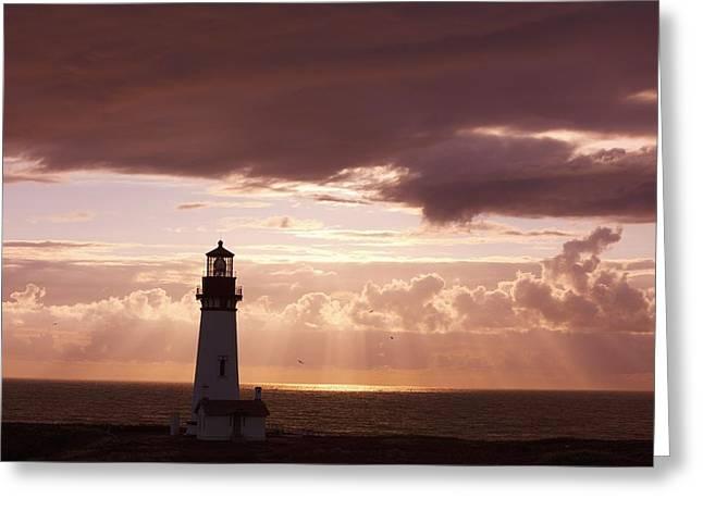 Oregon Lighthouse Image Greeting Cards - Oregon, United States Of America Sunset Greeting Card by Craig Tuttle