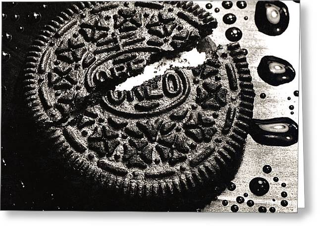 Macro Greeting Cards - Oreo Cookie Greeting Card by Nancy Mueller