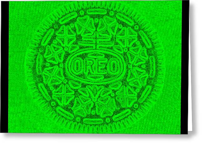 Oreo Greeting Cards - OREO in GREEN Greeting Card by Rob Hans