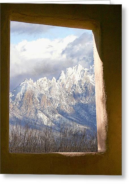 Adobe Mixed Media Greeting Cards - Organ Mountains thru Adobe Window Greeting Card by Elaine Frink