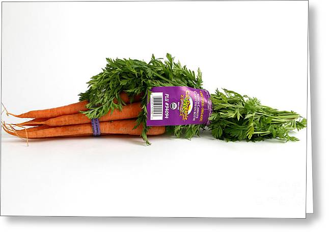 Conscious Greeting Cards - Organic Carrots Greeting Card by Photo Researchers